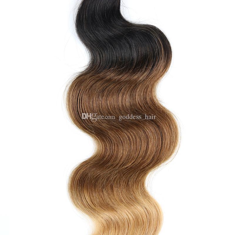 Venta caliente miel rubia brasileña 9a onda del cuerpo del pelo humano paquetes 4 piezas / lote # 1B / 4/27 Ombre pelo teje extensiones de cabello Ombre