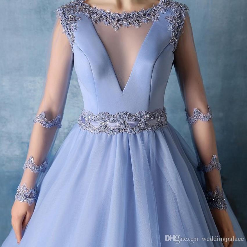 Incrível céu azul manga comprida puffy quinceanera vestidos tribunal trem debutante masquerade vestidos de baile quinceanera vestidos de baile vestidos