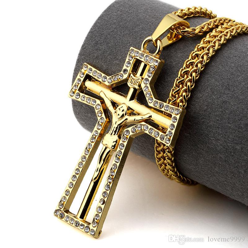 Rapper High quality 24K Gold Plated Jesus Cross Pendants Necklace Hip hop style Golden Crucifixio Pendant Cuban Chain Necklace Rock Jewelry