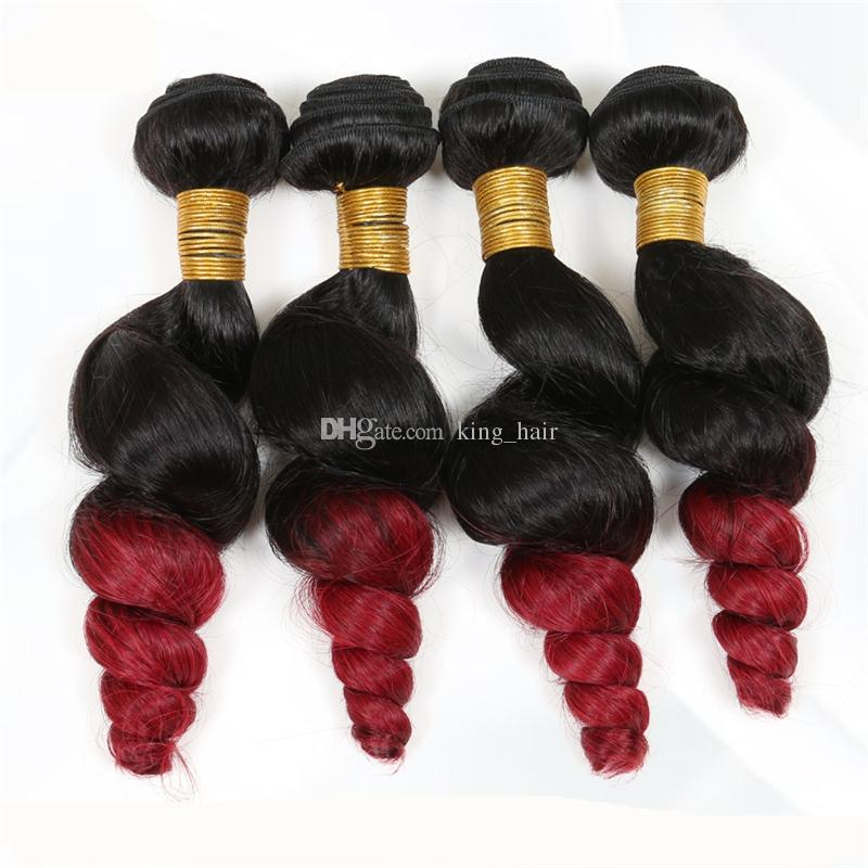 Hot Selling #1B Red Loose Wave Ombre Hair Extension Double Wefted 9A Brazilian Loose Curly Ombre Hair Bundles For Black Woman