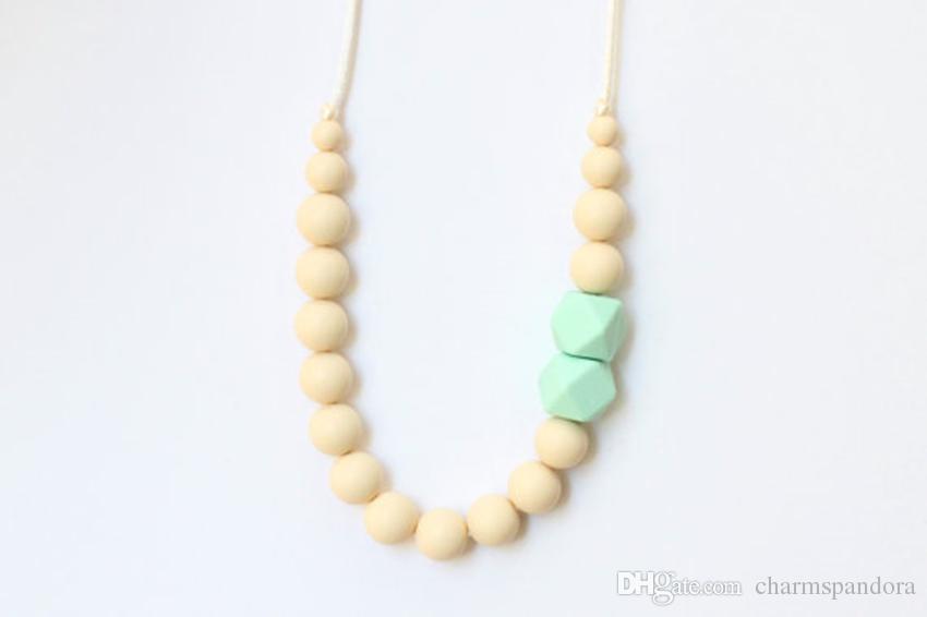 2016 FDA Silicone Dentição Solta Beads Pingente de Enfermagem Chewelry Colares Crianças Chew Beads Chewable Colar de Dentição Colar De Enfermagem-New18