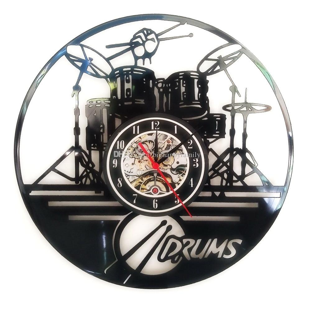 Classic guitar drums music set vinyl wall clock home decor gifts see larger image amipublicfo Images