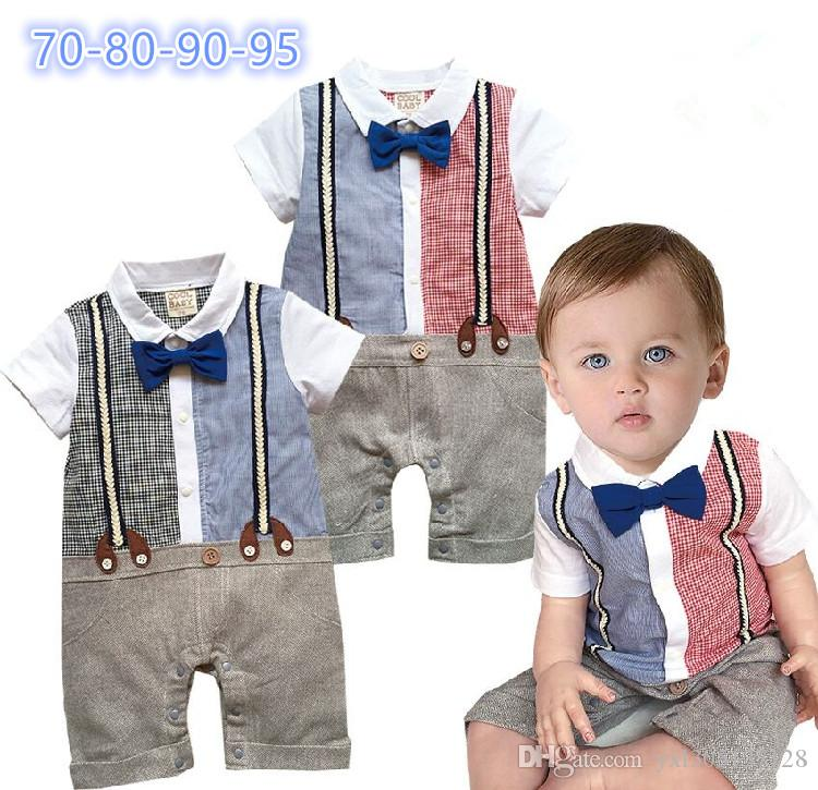 2640ffede556 Infants Baby Boys Short Sleeve Straps Rompers Children Gentleman Bow ...