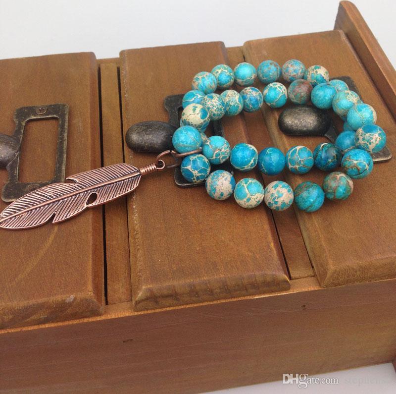ST0188 10mm stretch Real Azul pulseira Regalite conjunto com Encantos De Pérolas de cobre imperial pulseira de contas de jasper