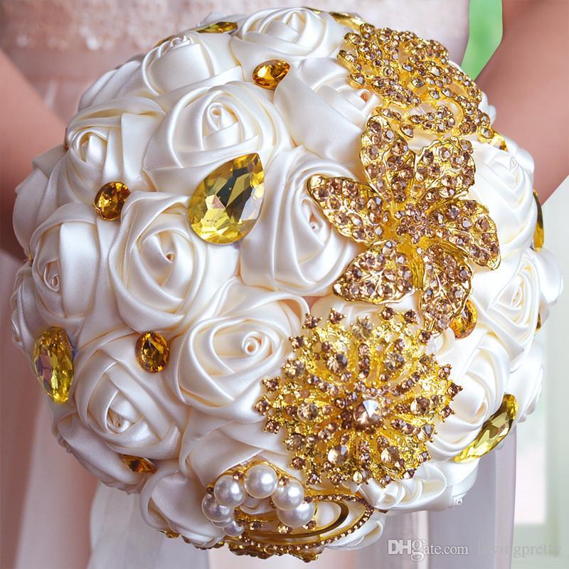Jane Vini Luxury Gold Silver Crystal Beaded Wedding Bouquets Satin Roses Handmade Diamond Bridal Bridesmaid Holding Flowers Ramos De Novia