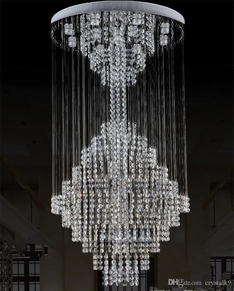 Luxury Modern Large Crystal Ceiling Light Chandeliers Lighting Fixture for Long Stair Hotel Villa