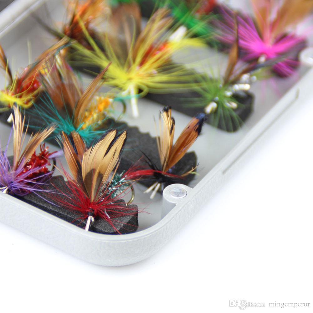 Esca pesca a mosca secca in palissandro 24 pezzi set con scatola trota artificiale carpa spigola farfalla insetto esca acqua dolce esche artificiali pesca con la mosca