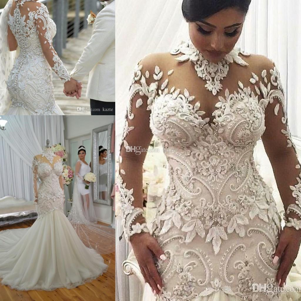 Haute Couture Wedding Gown: Azzaria Haute Couture Nigeria Mermaid Long Sleeve Wedding
