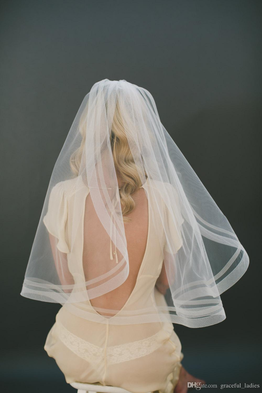 Romantik Fildişi Allık Bırak Gelin Veil Düğün Kesim Kenar Düğün Aksesuarları Yumuşak Gelin Illusion Tül Gelin Veils 2016 Yeni