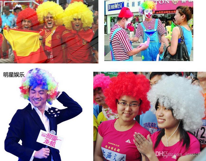 Nouveau clown unisexe fans Carnaval perruque Disco Cirque Déguisements Stag Party Do Fun Joker Costume Adulte Enfant Afro cheveux bouclés perruque accessoires de fête