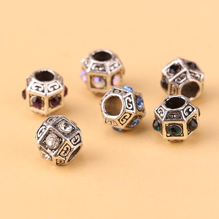 2016 New! Wholesale Color Crystal Charm Pandora European Charm Crystal Bead Fit Punk Snake Chain Bracelet Necklace Jewelry