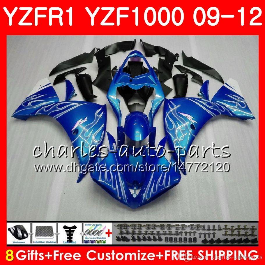 Bodywork For YAMAHA YZF 1000 R 1 Silver flames YZF-1000 YZF-R1 09 12 Body 85NO8 YZF1000 YZFR1 09 10 11 12 YZF R1 2009 2010 2011 2012 Fairing