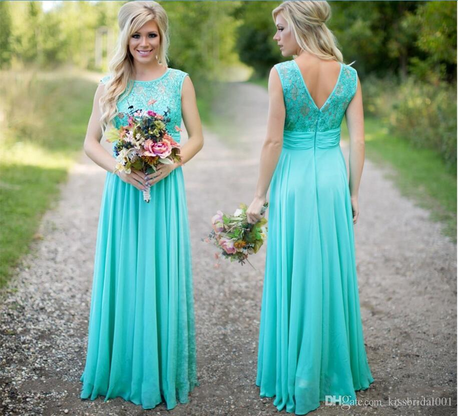 Cheap Turquoise Bridesmaid Dresses Lace Long Prom Gowns With V Backless Formal Party Gowns For Wedding