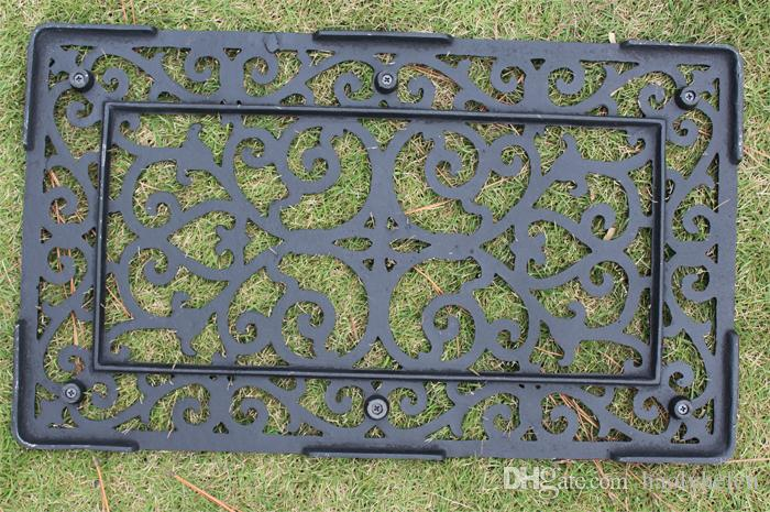 Decorative Wrought Iron Scroll Door Mat Outdoor Doormat Rectangular Home Garden Doorway Ornament 33 x 57cm Cast Iron Craft Vintage Brown