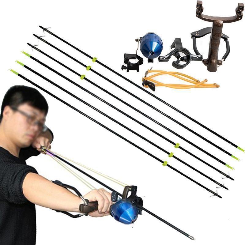 Carrete de pesca Tirachinas Tiro con arco Slingbow Caza Flecha Cepillo de descanso Terminal funcional Disparos Tirachinas con flechas de pesca negras