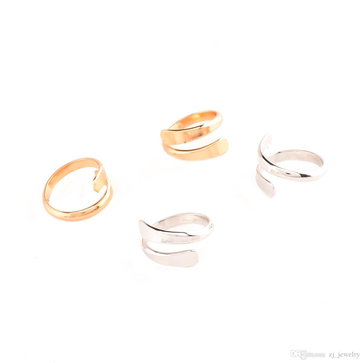 New Fashion Gold Silver Plated Simple Punk Open Rings For Women Open Adjustable Free Size Finger Party Rings bijoux 6