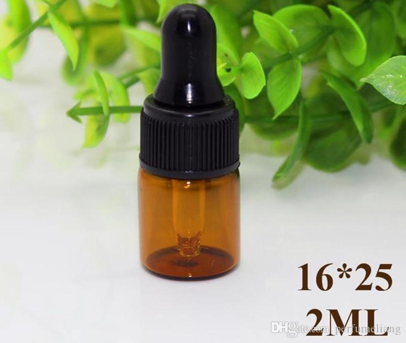 Venta al por mayor 1 ml 2 ml 3 ml botellas de cuentagotas de vidrio ámbar con tapa negra, botella de aceite esencial, frascos de Perfume pequeños, almacenamiento de muestras JF-17
