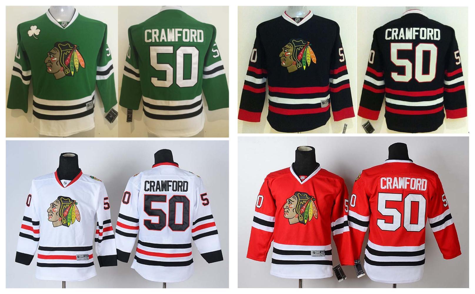 ... 2016 Youth Kids Chicago Blackhawks Ice Hockey Jerseys Cheap 50 Corey  Crawford Boys Jerseys Authentic Stitched ... dc5b99721
