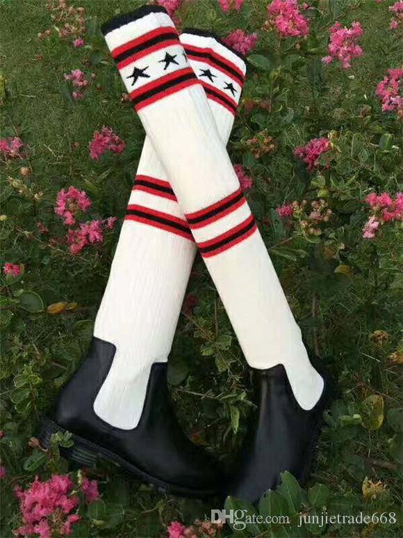 2017 эксклюзивный роскошный колено скольжения на вязание полосатый пятиконечная звезда носок зимние сапоги Женские сапоги из натуральной кожи