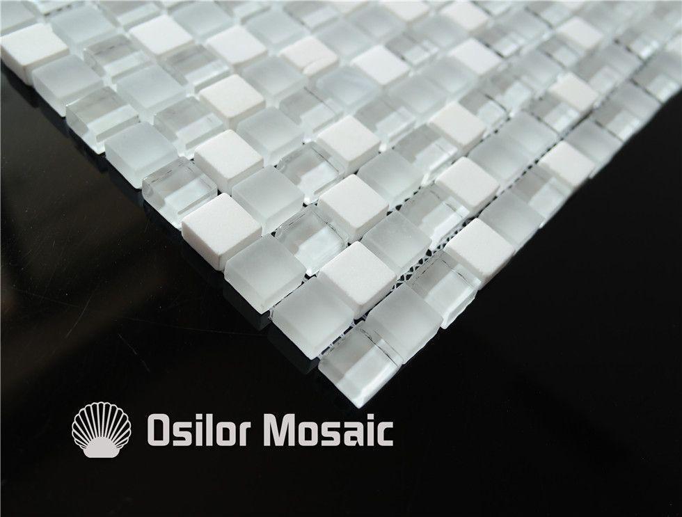 белое стекло мозаика плитка смешанные камни для интерьера украшения дома ванная комната и кухня стены плитка напольная плитка толщиной 8 мм