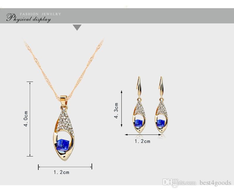 Fashion Crystal Diamond Angel Tears Drop Necklace and Earrings Sets rhinestone Gold Chain Necklace for Women Fashion Wedding Jewelry