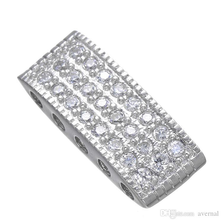 Cubic Zirconia Micro Pave Copper Connector Five-hole Calandria Platinum Plated Nickel Lead & Cadmium Free 8x20mm Hole:About 2.3mm