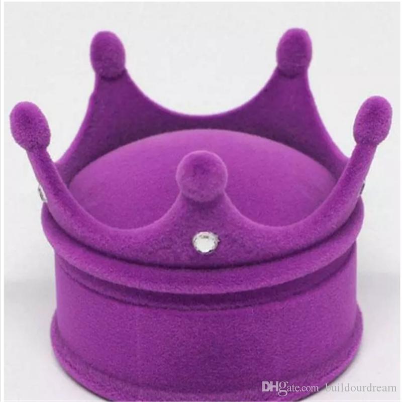 Collar de cajas de anillo rosa azul púrpura rosa caja de joyas creativas Nueva caja de la caja chica joya de la corona de joyas regalos de boda caliente A83-A90