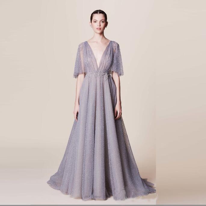 2016 Summer Gogerous Tulle Prom Dresses Deep V-Neck Women Prom Gowns Floor Length A-line Marchesa Resort Arabic Prom Dresses