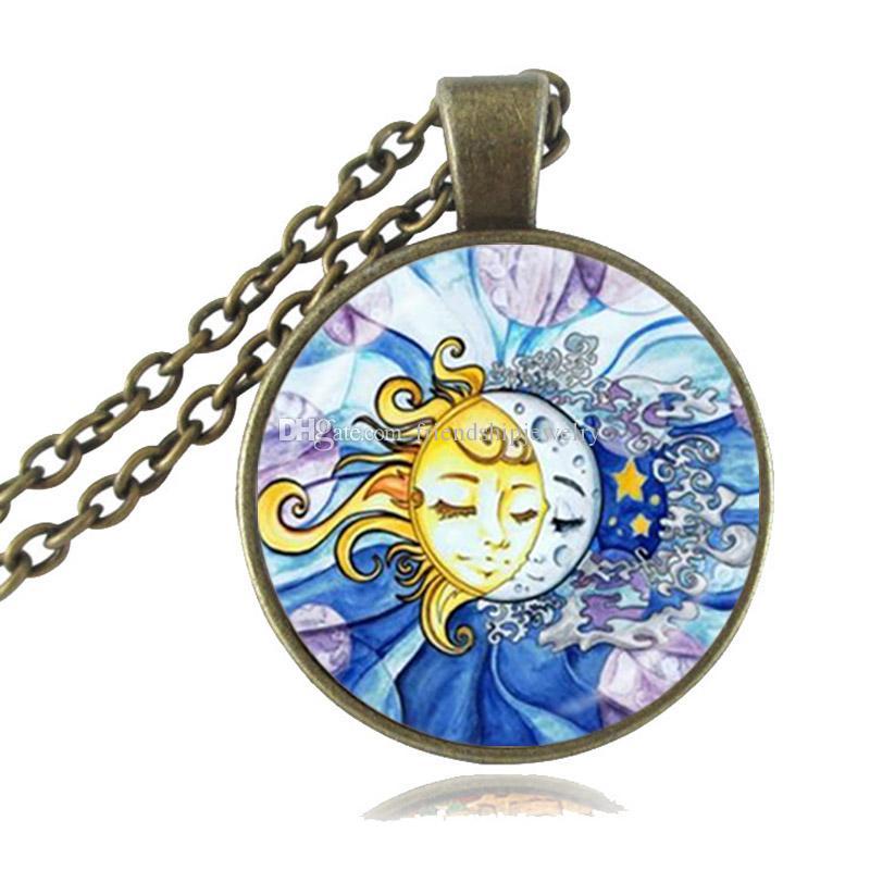 Sol e da Lua Colar, Estrela bonito Pendant, dia e noite jóia de vidro cabochão Pendant, chapeamento instrução de cadeia presentes colar camisola