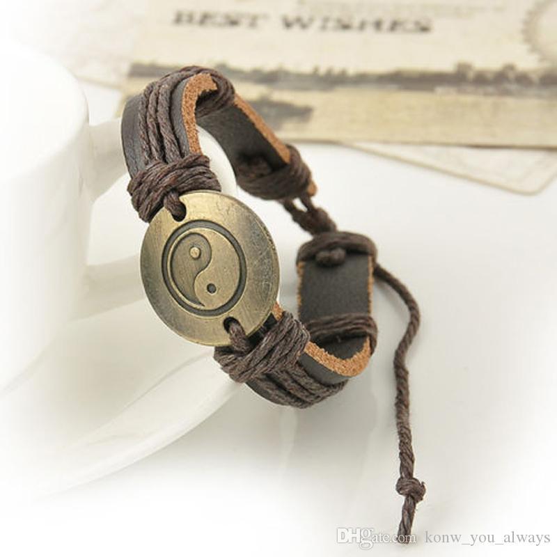 Hot Men Yin and yang Wrap Leather Infinity Charm Bracelet Retro Jewelry Gift