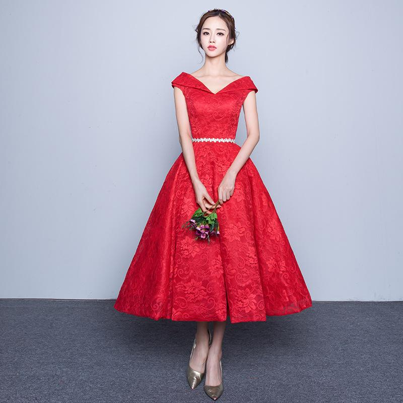 2016 New Fashion The Bride Marriage Red Evening Dress Tea Length ...