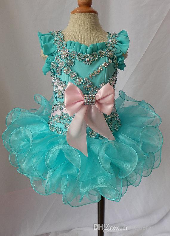 Scoop con perline arco verde pizzo stringate organza abiti da ballo ragazze pageant abiti glitz bambini bambino formale bambine glitz cupcake