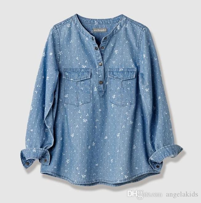 Camisas florales Niños Camisa de manga larga de mezclilla Algodón Vaquero Camisa con cuello caído Ropa para niños Camisas