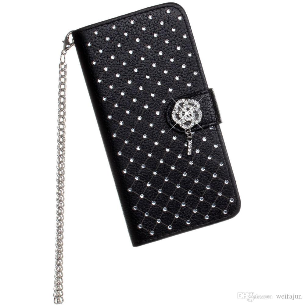 Luxury Bling Rhinestone Diamond Leather Flip Wallet Case For iPhone 5 5S SE 6 6S 7 8 Plus X Stand Card Phone Case