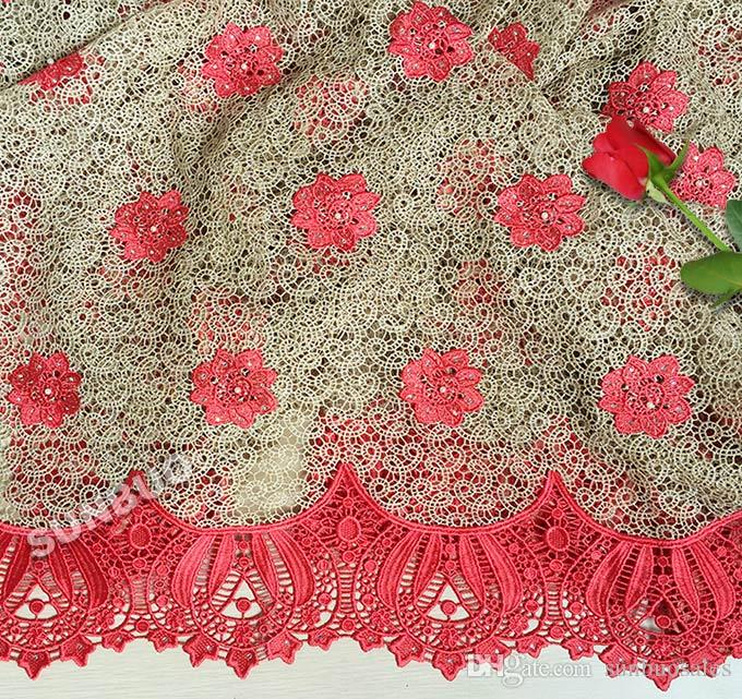 High Grade Latest big Cord Lace African Guipure Lace fabric 5yards/ pc 7234 unique classic