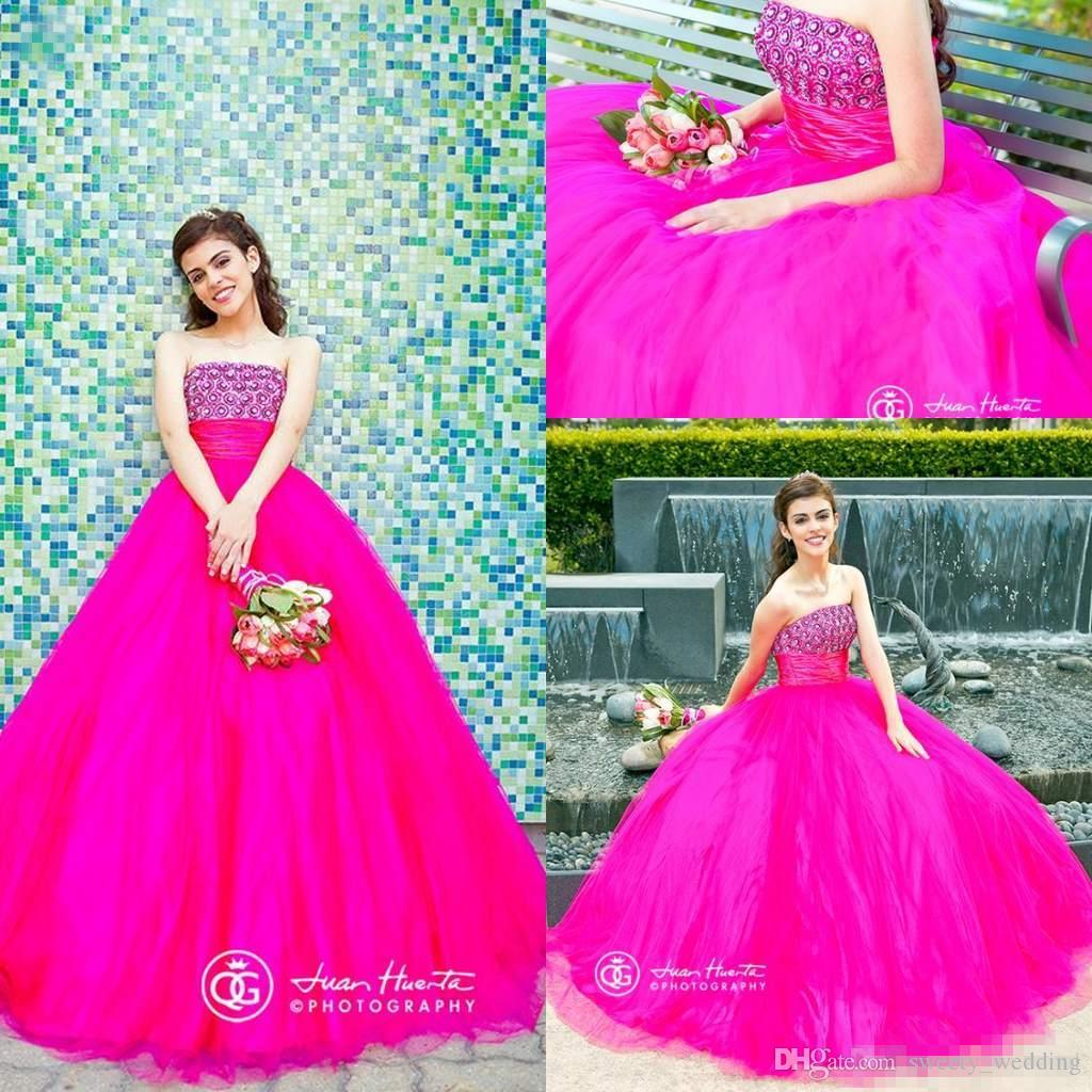 7a9feaf9f50 Sweetheart 16 Princess Prom Dresses 2016 Hot Pink Ball Gown Quinceanera  Dresses Beaded Crystals Top Tulle Sweet Party Prom Dresses Hot Sale  Strapless ...