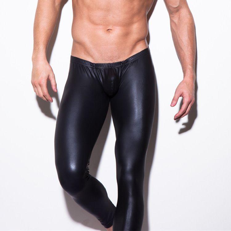 Sıcak pantolon En Kaliteli Erkek Siyah Faux Patent Deri Sıska Kalem Pantolon PU Lateks Streç Tayt Erkekler Seksi Clubwear Bodywear pantolon