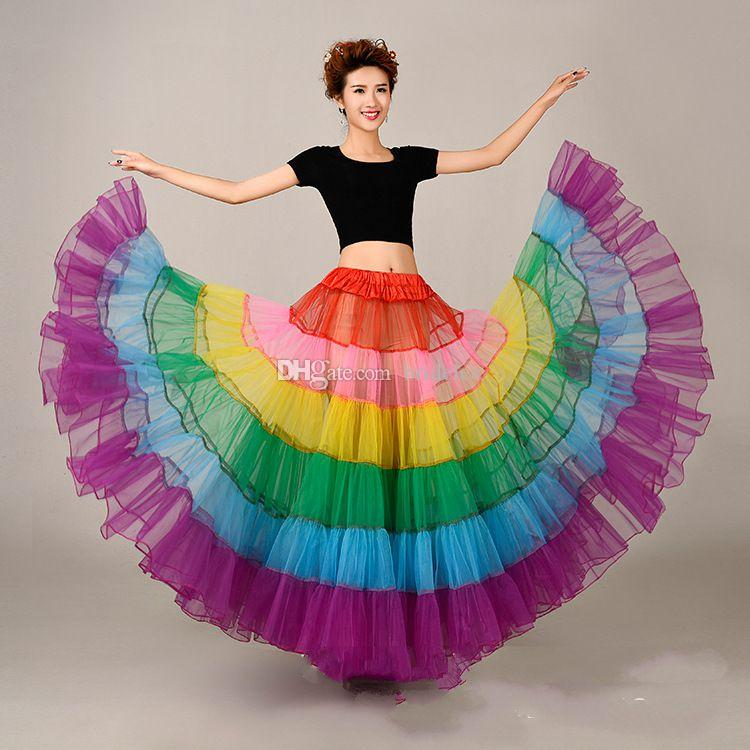 a line rainbow petticoat halloween wedding adjustable waist slip in action 1950 s tutu petticoat underskirt crinoline colored petticoats full petticoats - Halloween Petticoat