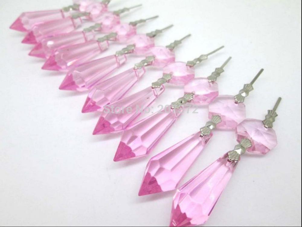Lampadario Gocce Rosa : Acquista trasporto libero rosa di vetro lampadario di cristallo