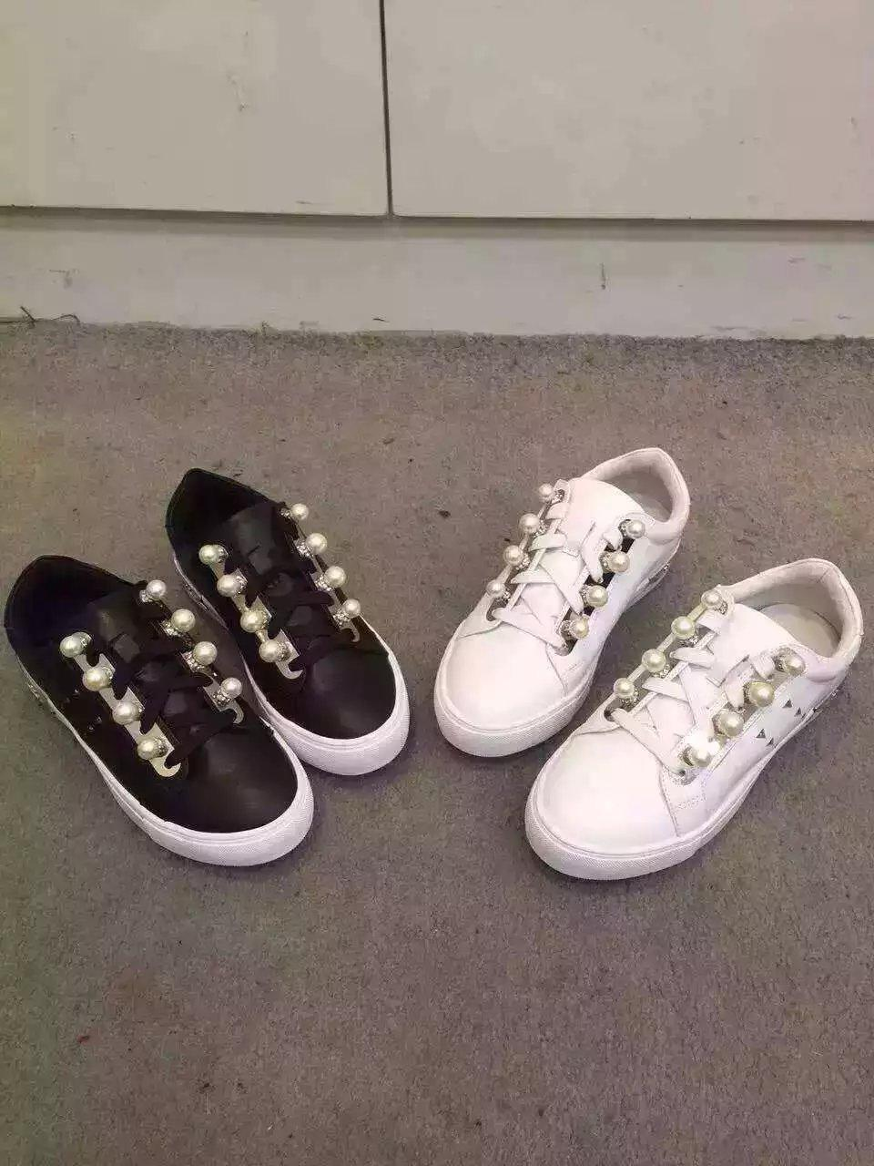 HOT! scarpe U624 Genuine Pelle Pearl Scarpe da Ginnastica scarpe HOT! Ladies argento Nero   0988b5