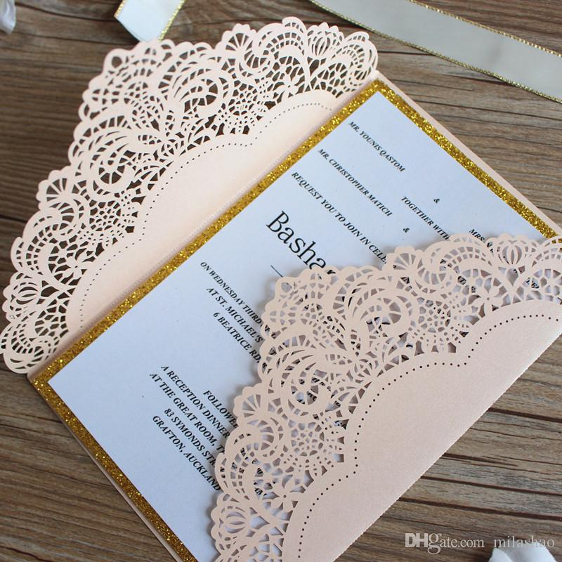 Customize Wedding Invitations Dusty Rose Laser Cut Country