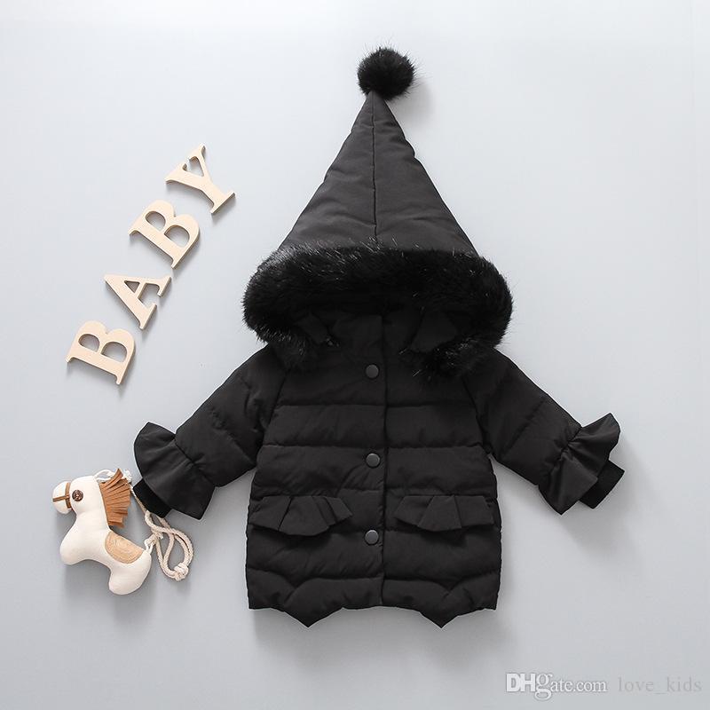 Mode Kinder Kapuzenmantel Winter Mädchen Langarm Plus Samt Dicker Outwear Kinder Daunenmantel Weihnachtsgeschenke 3 Farben