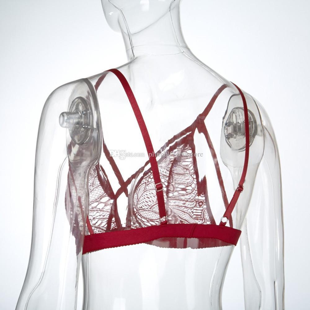Blusas Mujeres Sexy Brandy Melville sujetadores de tiras de lencería de encaje transparente floral Sujetador sin fisuras Bralette cosechado por mayor de ropa interior feminino