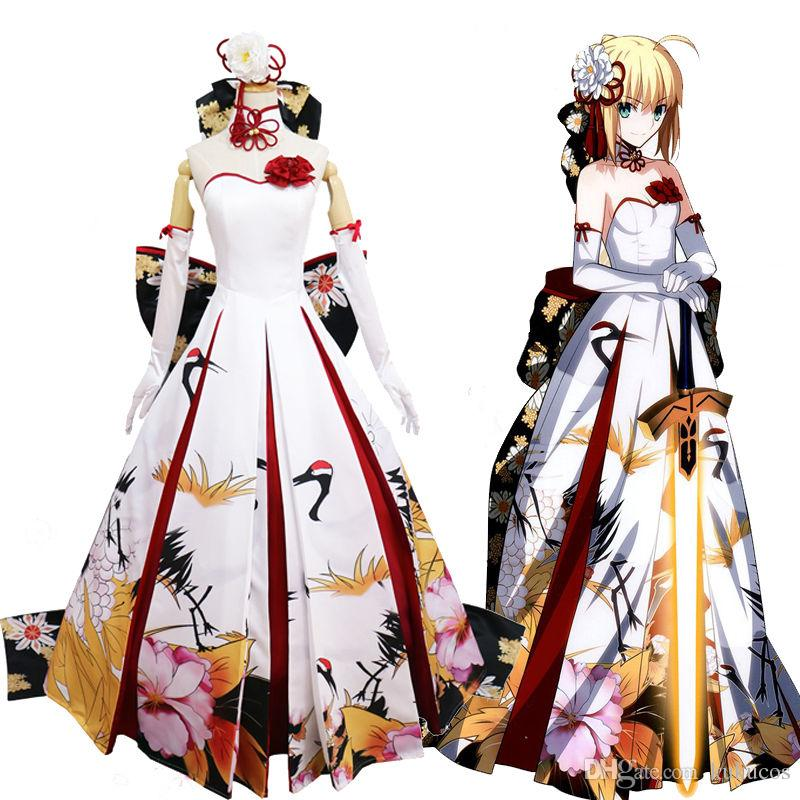 d33b5f020a Kukucos Fate/stay Night Saber Year Cos Ceremony Cranes Dress Cosplay  Costume Dress