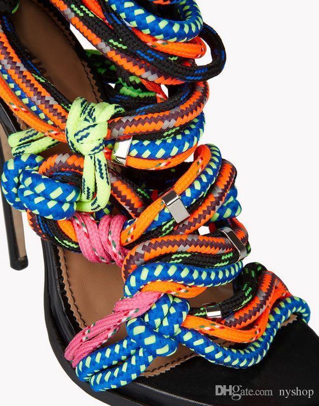 Vente chaude Marque New Rope High Heels à bout ouvert lacets Sandales Cross-Tie Bandage Mix Couleurs D'été Chaussures De Corde À Talons Hauts Bottines