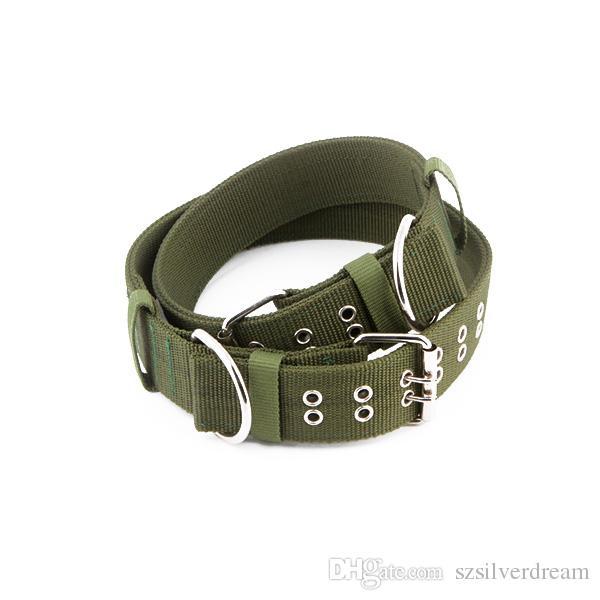 b9dc41273d0f Compre Collar De Perro Bloqueado Verde Del Ejército Grueso Durable  Suministros Para Mascotas Collar De Perro De Nylon Collar De Mascota De  Plomo S L Para ...