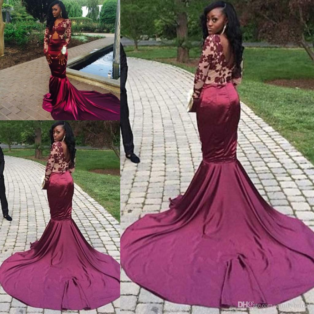 Long Sleeve Mermaid Prom Dresses Wine Red Silk Satin Chapel Train ...