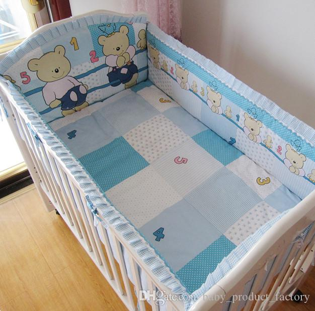 Promotion! baby Crib bedding Set Baby Bumpers Sheet cribs for babies 100% cotton,include4bumpers+sheet+pillowcase
