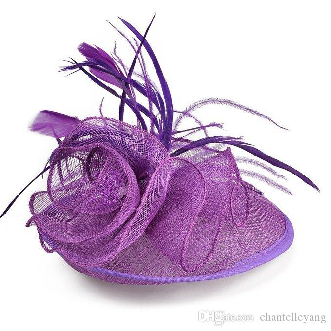 2017 Fascinator Bridal Hats Feather Wedding Hat Evening Party Colors Bridal Headwears for Women Church Headpiece Hair Accessoreis New