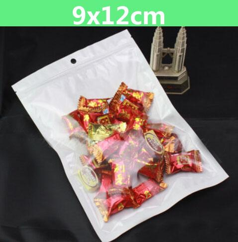 200pcs 9*12cm White/Clear Self Seal Resealable Zipper Plastic Retail Packaging Bag, Zip Lock Retail Package With Hang Hole